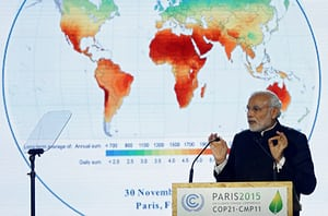 Prime minister Narendra Modi speaking at the International solar alliance launch ceremony at the 2015 COP21 climate conference in Paris