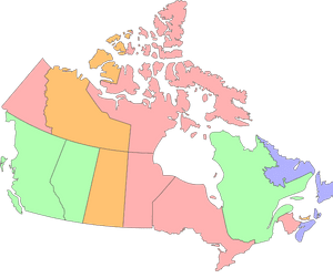 Green indicates that the province's own carbon pricing system meets the federal standards. Purple and orange indicate a province's planned or proposed carbon pricing will meet the federal standards, respectively. Red indicates that the federal carbon pricing will apply to the province.
