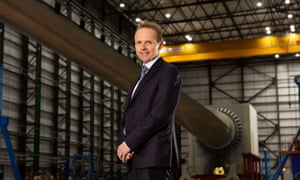 Alistair Phillips-Davies, chief executive of SSE, inside the wind turbine testing facility in Blyth, Northumberland.
